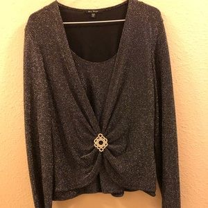 Black sparkly long sleeved blouse